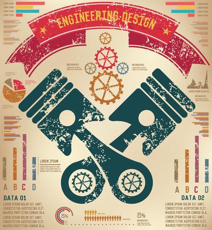 explosion engine: Engine infographic design on old background