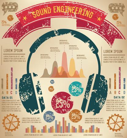 earphone: Earphone infographic design on old background Illustration
