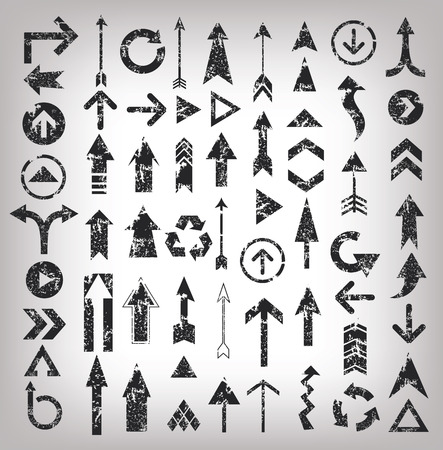flechas curvas: Flechas Grunge ilustraci�n de iconos de flechas negras, vector limpio