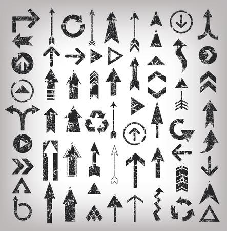 Grunge arrows illustration of black arrow icons,clean vector Vettoriali