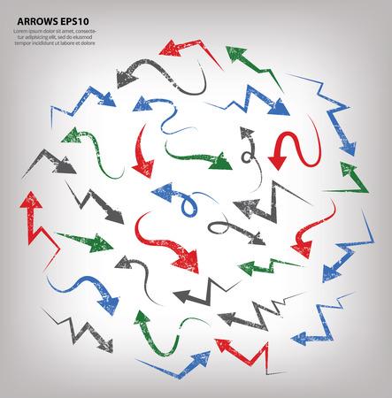 Grunge arrows design,grunge vector Vector