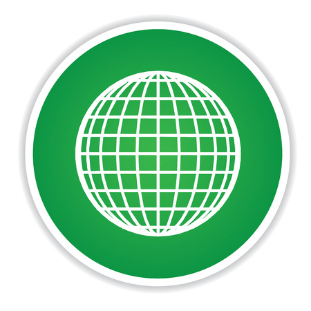 Global icon on green button background,clean vector