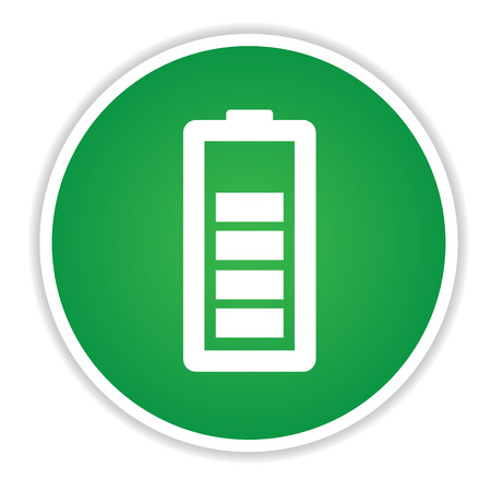 button batteries: battery signs on green button background,clean vector Illustration