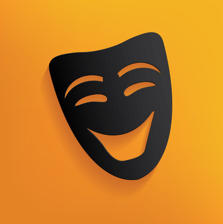 yellowrn: Smile mask design on yellow background,clean vector Illustration