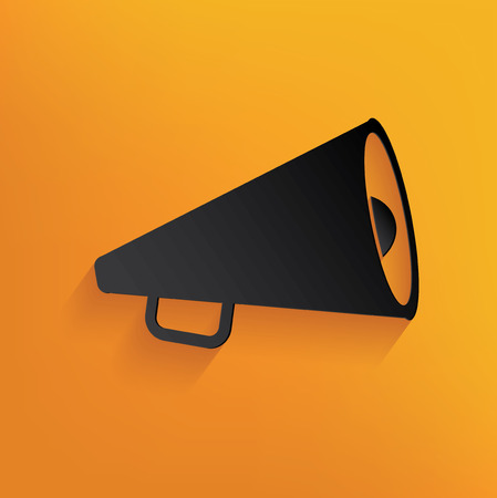Megaphone marketing design on yellow background,clean vector Illustration