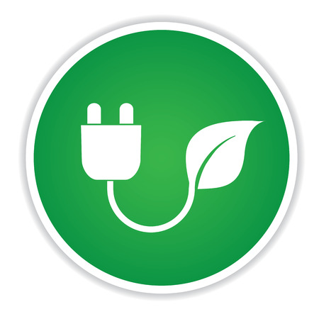 clean energy: Energy icon on green button background,clean vector