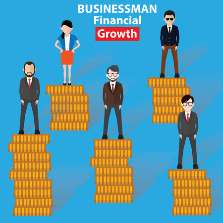 hold high: Growth business concept on blue background, clean vector Illustration