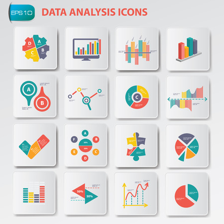 analysis: Data analysis icons on buttons,clean vector Illustration
