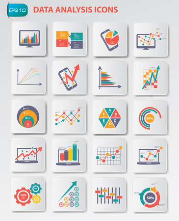 collection: Data analysis icons on buttons,clean vector Illustration