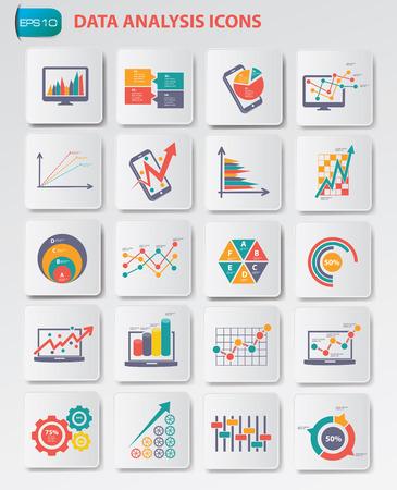 Icone di analisi dei dati sui pulsanti, vettore pulito