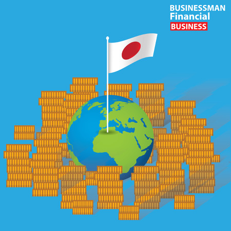 Japan financial concept design on blue background,clean vector Vector