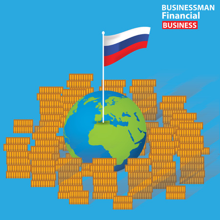 Russia financial concept design on blue background,clean vector Vector