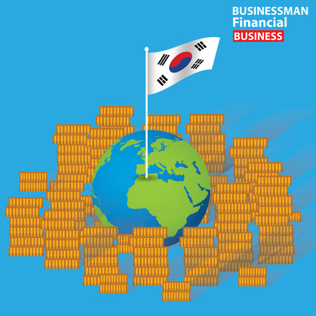 corporate greed: Korea financial concept design on blue background,clean vector Illustration