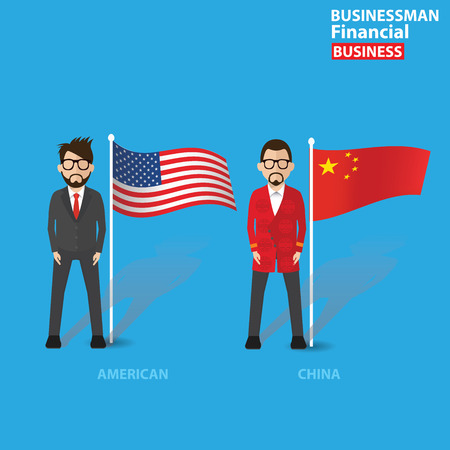 Businessman concept,cartoon character design on blue background,clean vector Vector
