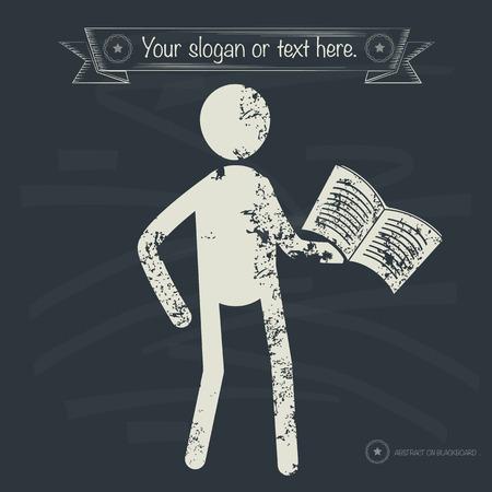 alumnus: Reading concept,human resource design on old background,grunge vector