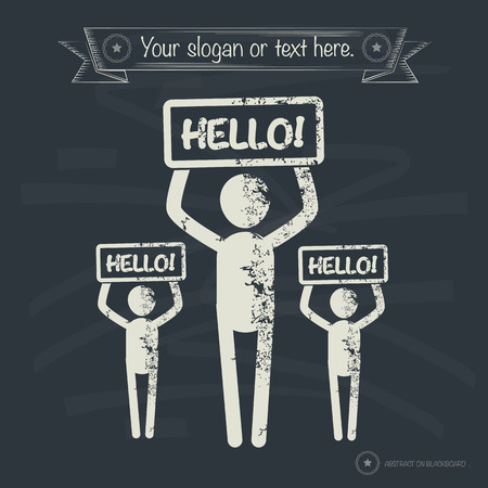 hesitating: Hello concept,human resource on old background,grunge vector