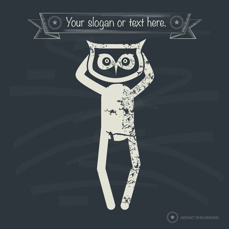 hesitating: Owl concept,human resource on old background,grunge vector Illustration
