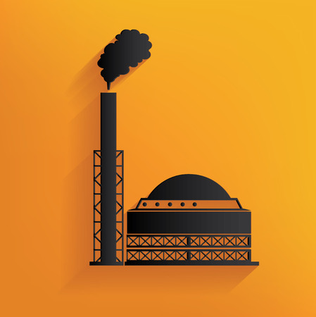 Heavy factory design on yellow background, clean vector