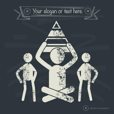 balanced scorecard: Pyramid concept,human resource on old background,grunge vector