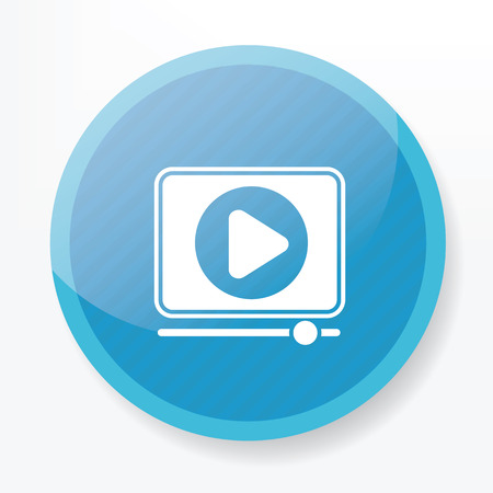 windows media video: Video play on blue flat button,clean vector