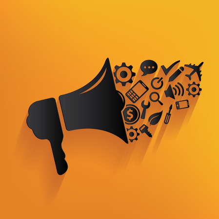 diffusion: Megaphone marketing design on yellow background,clean vector Illustration