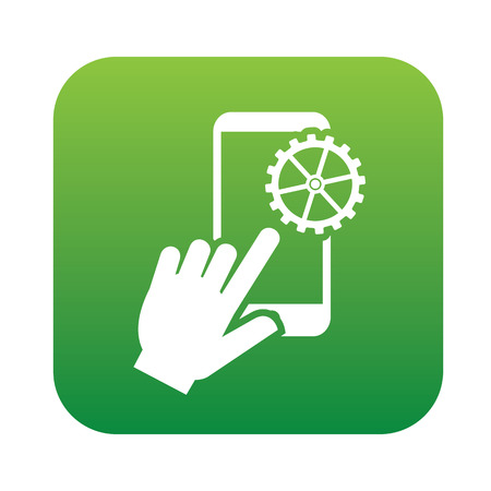 cellphone icon: Mobile on green flat button,clean vector