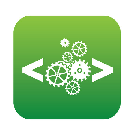 Coding quality icon on green button,clean vector