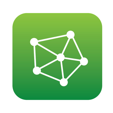 green button: Connection icon on green button,clean vector
