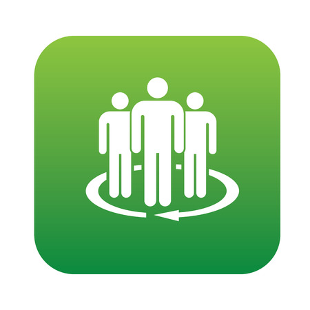datacentre: Team service icon on green button,clean vector