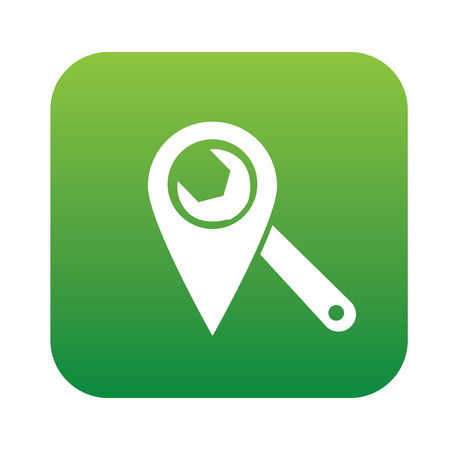 points of interest: Repair local on green button,clean vector Illustration
