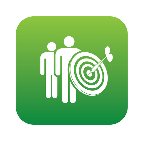 Human target on green button,clean vector Vector