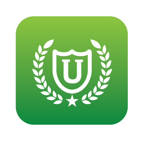 university: Education symbol design on green button,clean vector