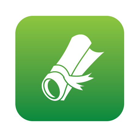 burgundy ribbon: Certificate symbol design on green button,clean vector