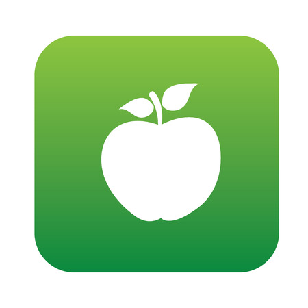 granny smith apple: Apple symbol design on green button,clean vector