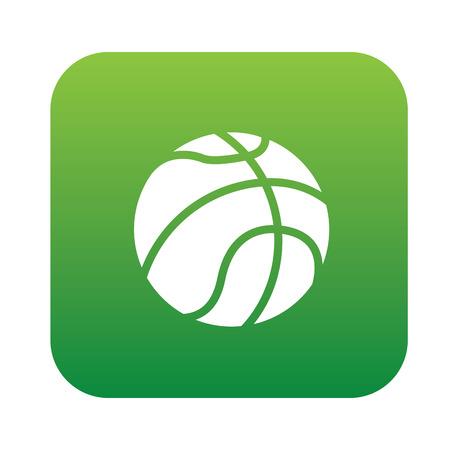 basketball shot: Basketball symbol design on green button,clean vector