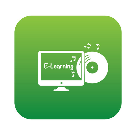 self study: E-learning symbol,sticker design,green version,clean vector Illustration