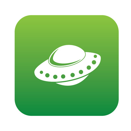 ufo: UFO design on green flat button,clean vector Illustration