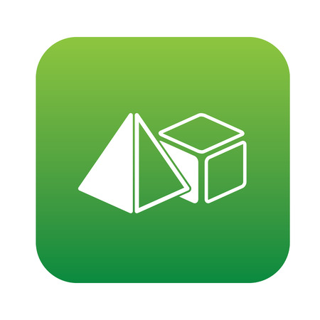 solids: Geometry design on green flat button,clean vector