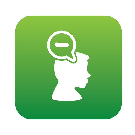 negative thinking: Negative thinking design on green flat button,clean vector Illustration