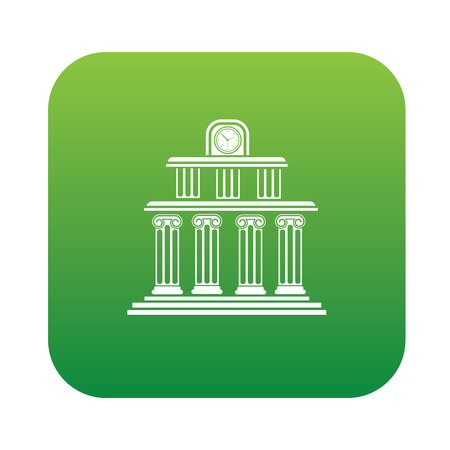 multilevel: School design on green flat button,clean vector