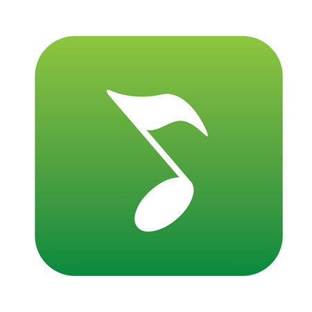 trill: Song design on green flat button, clean vector