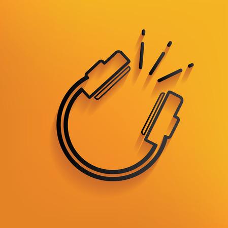 Earphone design on yellow background,clean vector