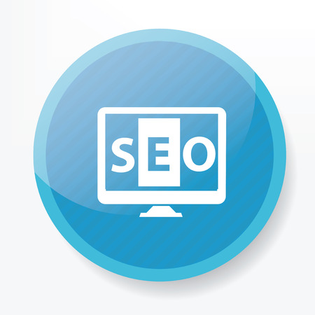 metasearch: SEO on blue flat button clean
