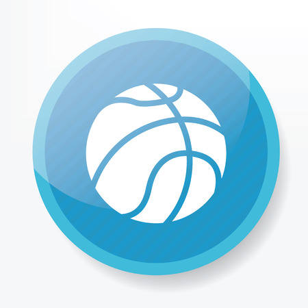 whitern: Basketball symbol design on blue button,clean vector
