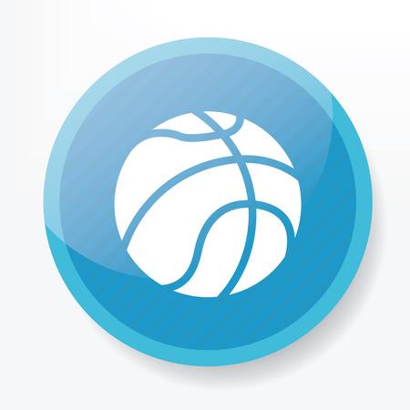 whitern: Basketball symbol design on blue button,clean vector
