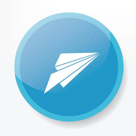 whitern: Rocket symbol design on blue button,clean vector