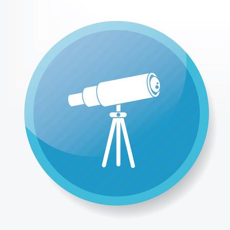 ocular: Telescope design on blue flat button,clean vector