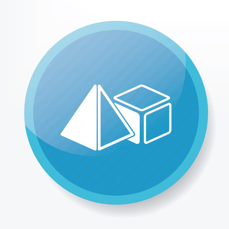 solids: Geometry design on blue flat button,clean vector