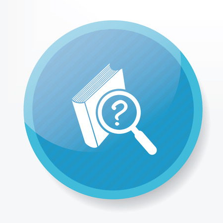 astute: Searching book design on blue flat button,clean vector Illustration