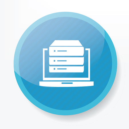 blue button: Database on blue button,clean vector